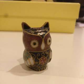 Small copper owl figurine