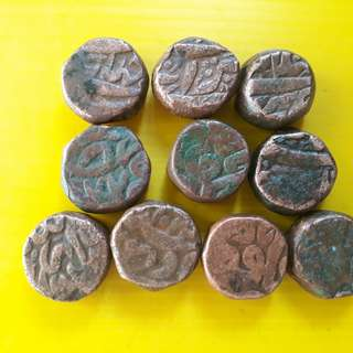 10 Coins Lot - AKBAR ( 1556 - 1605 )  / JAHANGIR - ak03 - MUGHAL - MIXED COPPER DAM COIN - Approximately 20.0 Grams Each - VERY RARE AT CHEAP PRICE - Beautiful vintage Copper Coin Medieval Islamic Persian ( 500 - 600 Years old )   india