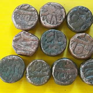 10 Coins Lot - AKBAR ( 1556 - 1605 )  / JAHANGIR - ak05 - MUGHAL - MIXED COPPER DAM COIN - Approximately 20.0 Grams Each - VERY RARE AT CHEAP PRICE - Beautiful vintage Copper Coin Medieval Islamic Persian ( 500 - 600 Years old )   india