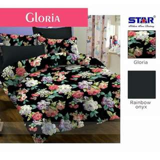 Bedcover set katun star Gloria ukuran 200x200x20