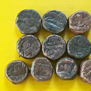 10 Coins Lot - AKBAR ( 1556 - 1605 )  / JAHANGIR - ak07 - MUGHAL - MIXED COPPER DAM COIN - Approximately 20.0 Grams Each - VERY RARE AT CHEAP PRICE - Beautiful vintage Copper Coin Medieval Islamic Persian ( 500 - 600 Years old )   india