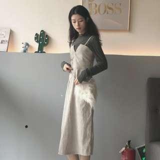 [包郵]小V燈芯絨連身裙+薄衫兩件套 #mayflashsale