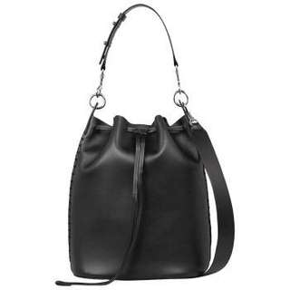 All Saints Ray leather bucket bag black small