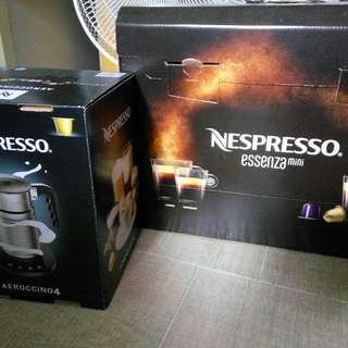 最新型號 -套 Nespresso Essenza mini 咖啡機 + Aeroccino4 打奶泡机 + one set tester coffee capsule