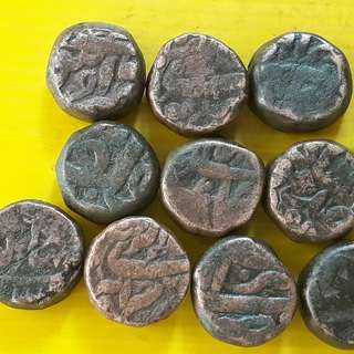 10 Coins Lot - AKBAR ( 1556 - 1605 )  / JAHANGIR - ak10 - MUGHAL - MIXED COPPER DAM COIN - Approximately 20.0 Grams Each - VERY RARE AT CHEAP PRICE - Beautiful vintage Copper Coin Medieval Islamic Persian ( 500 - 600 Years old )   india