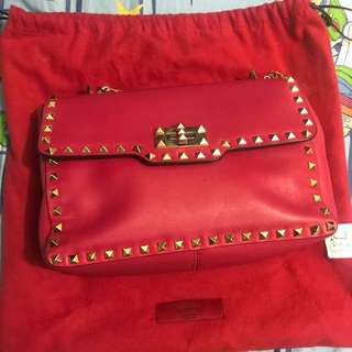 Valentino red stud studded chain bag
