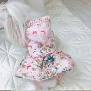 🚚 「L號」寵物鋪棉外套 公主服裝刷毛鋪棉外套 貴賓狗 博美 貓咪