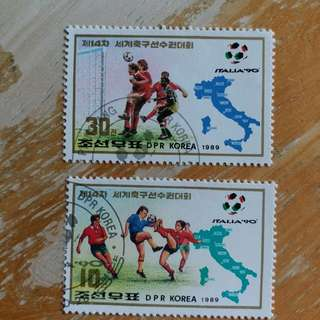 北韓郵票1990年意大利世界盃足球賽已銷郵票