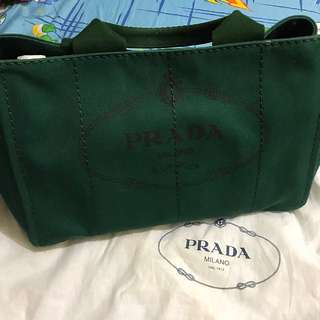 Prada green canvas 3 ways bag