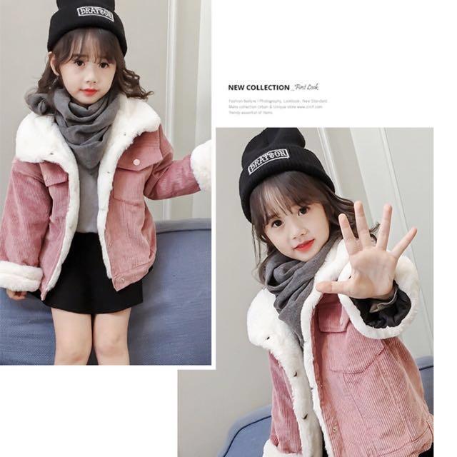 韓版女童燈芯絨加厚保暖外套(剩墨綠)