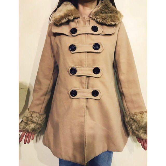 (二手)駝色雙排扣毛呢連帽大衣外套