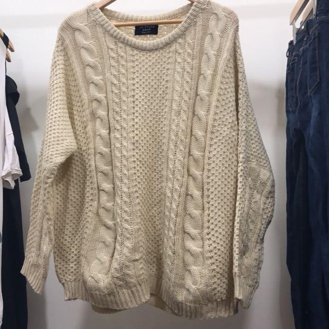 (二手少穿)杏色寬鬆針織毛衣