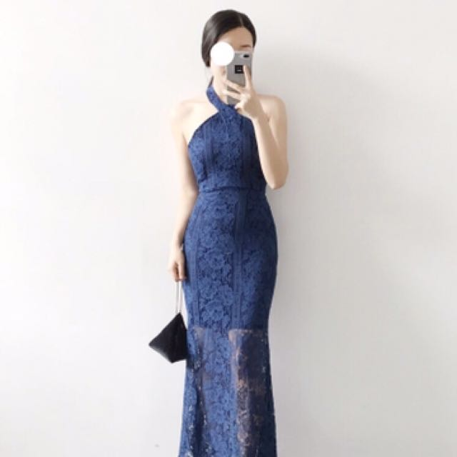 蕾絲洋裝 深藍色