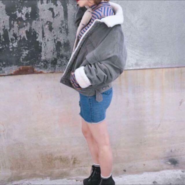 正韓 韓國 保暖燈芯絨羔羊毛大衣外套 #新春八折