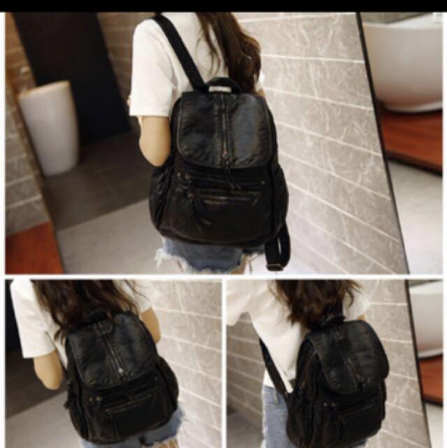 黑色 女用 多層  軟質 手提兩用後背包