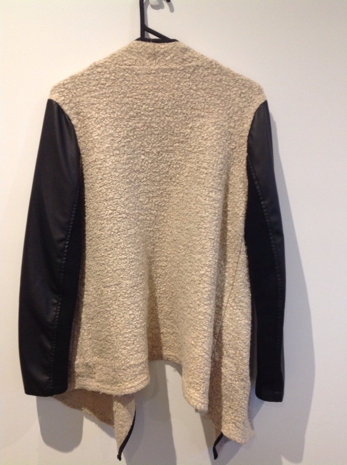 AMAZING Leatherette and Knit Black and Beige Throw Over Jacket Cardigan Size 10