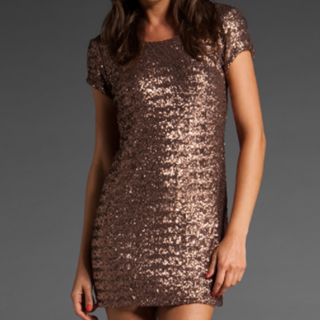 Backstage Give Me Fever Copper Sequinned Dress
