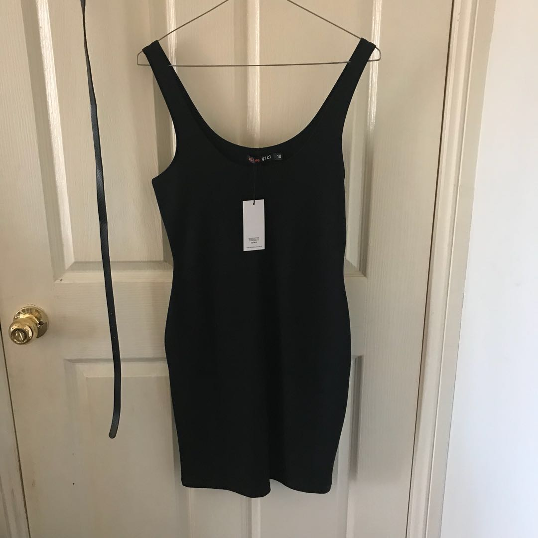 Black Basic Bodycon Scoop Mini Dress