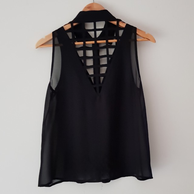 Black mesh shirt with cut outs
