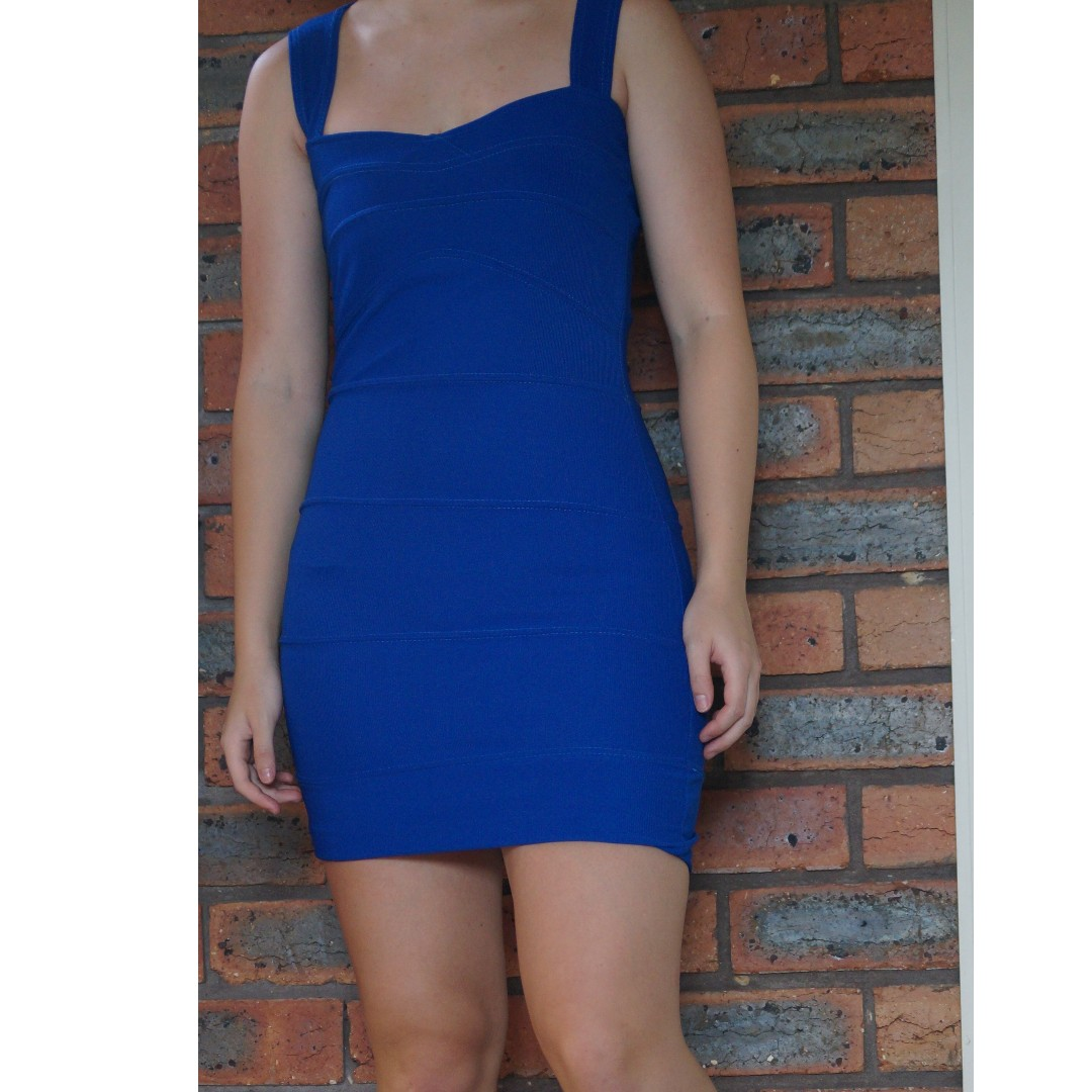 Boohoo BodyCon Blue Dress Cut Out