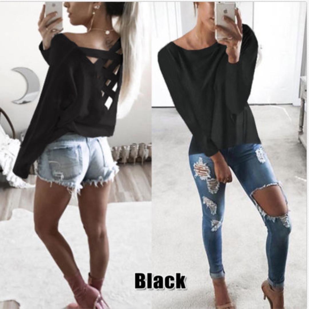 Casual T Shirt Long Sleeve Loose Pullover Cotton Top Shirt Blouse Shirt