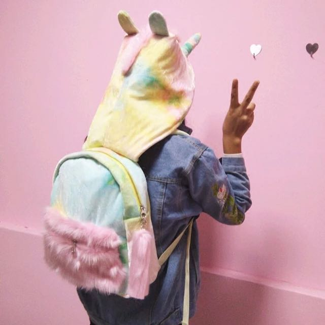 Colourful unicorn (with hoodie) backpack
