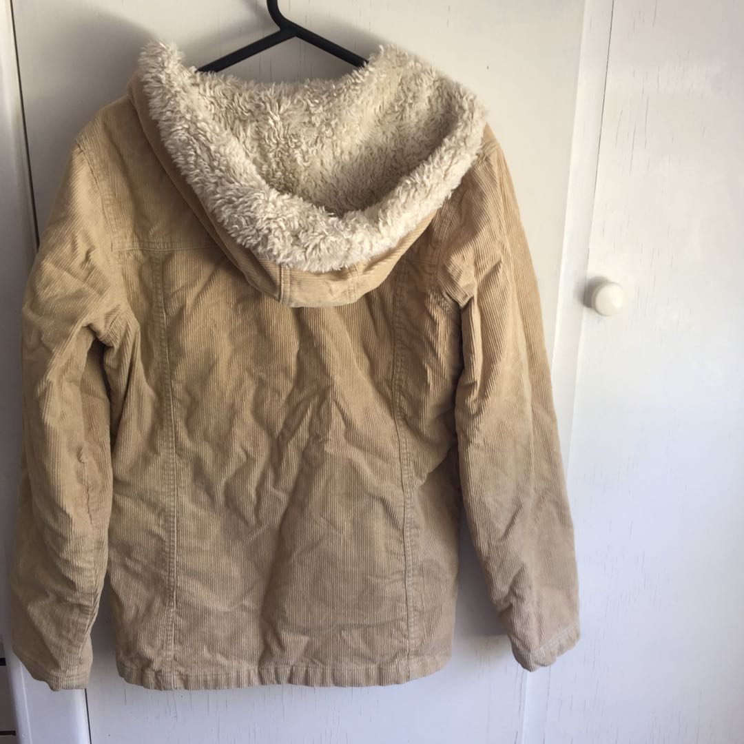Corduroy jacket with fur hood
