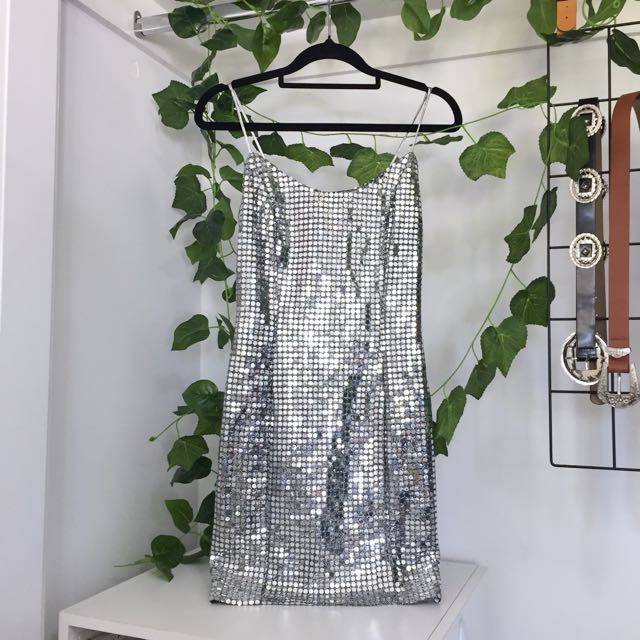 Disco Silver Shiny Sparkle Party Mini Dress