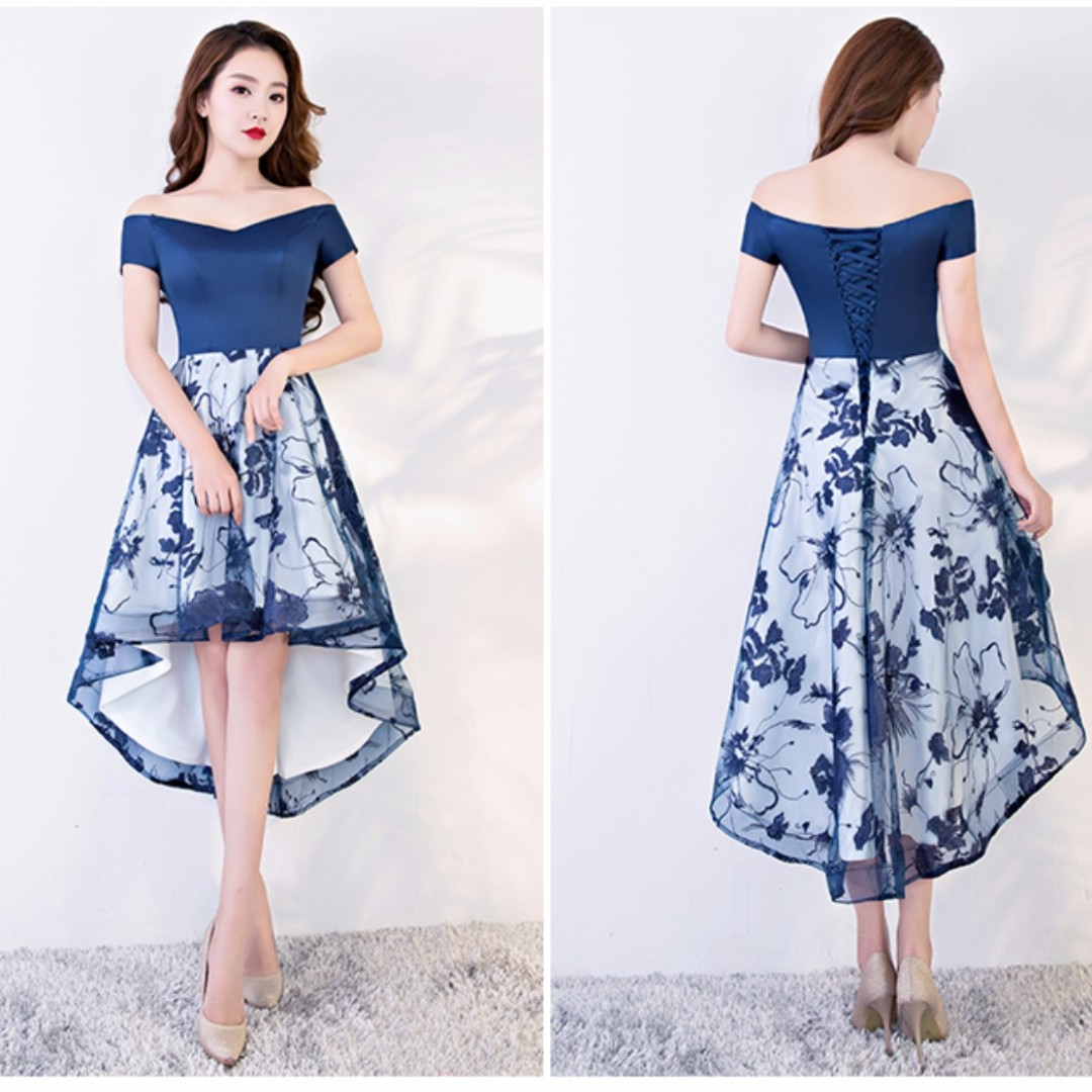 Dual Tone Navy Blue Floral Short Gown Instock Womens Fashion