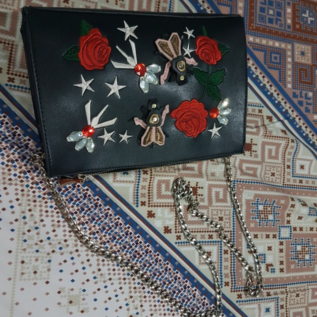 Embroider black bag