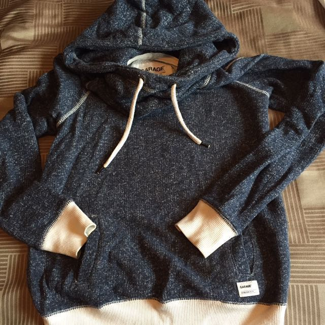 Garage Navy Blue Mix Funnel Neck Hoodie