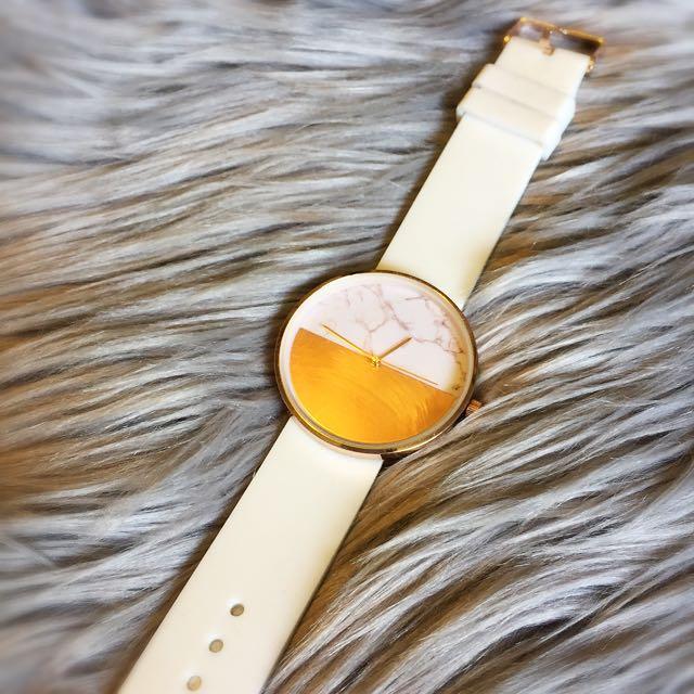 Gold & White Watch // Lovisa