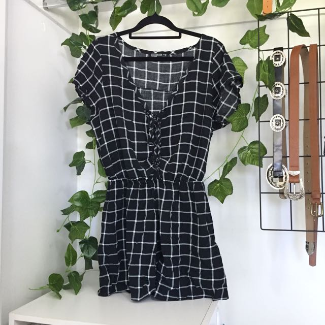 Grid Lace Up T-Shirt Style Playsuit