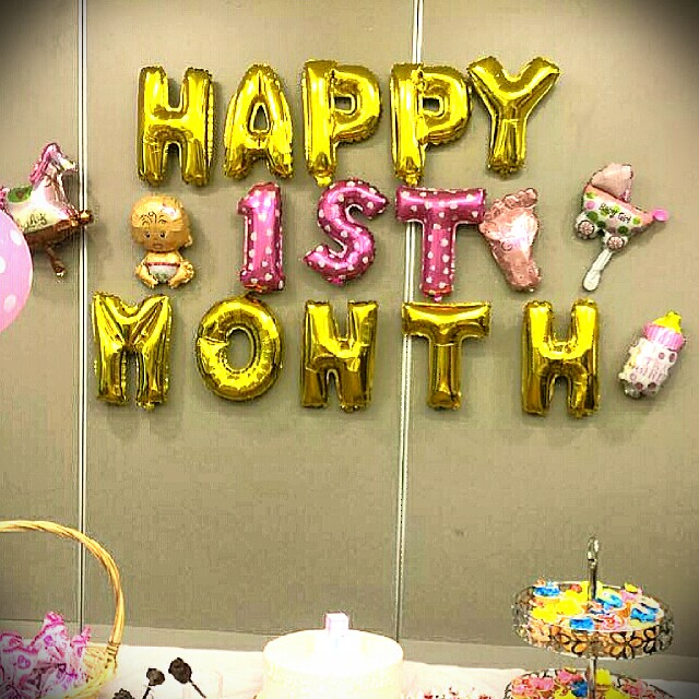 Happy 1 Month Birthday Balloons/ Baby Girl, Design & Craft, Craft Supplies  & Tools on Carousell