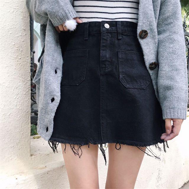 fc972f5e4 Instock Ulzzang high waist A line skirt black skirt ripped skirt denim skirt  ripped denim skirt, Women's Fashion, Clothes, Dresses & Skirts on Carousell