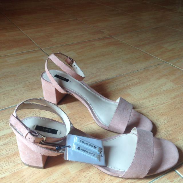 Mango Dusty Pink Strap Heels