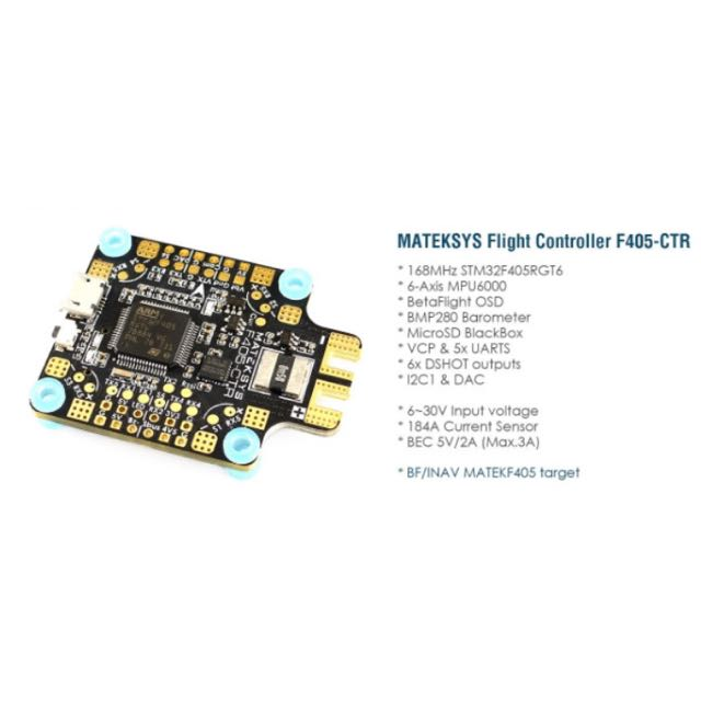 Matek Systems BetaFlight F405-CTR Flight Controller Built-in PDB OSD 5V/2A BEC Current Sensor for RC Drone