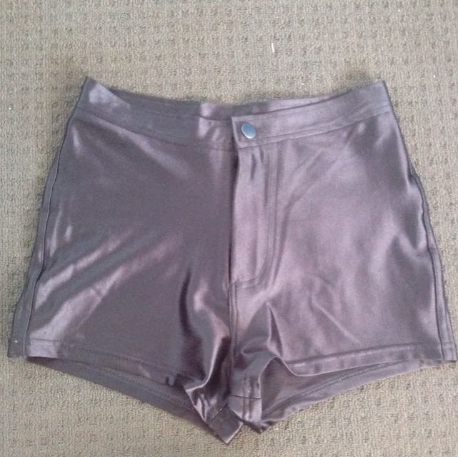 Mooloola Citybeach Stretchy Shiny High Waisted Black Shorts
