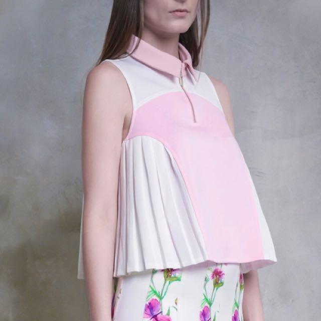 Neoprene pleat pink top