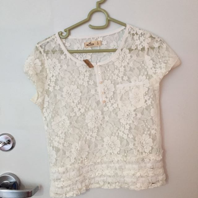 New white lace Hollister shirt