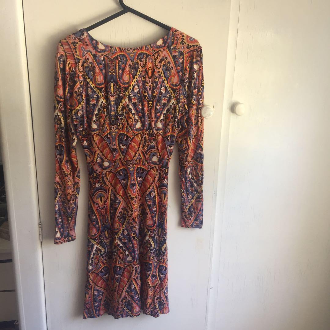 Paisley long sleeve dress