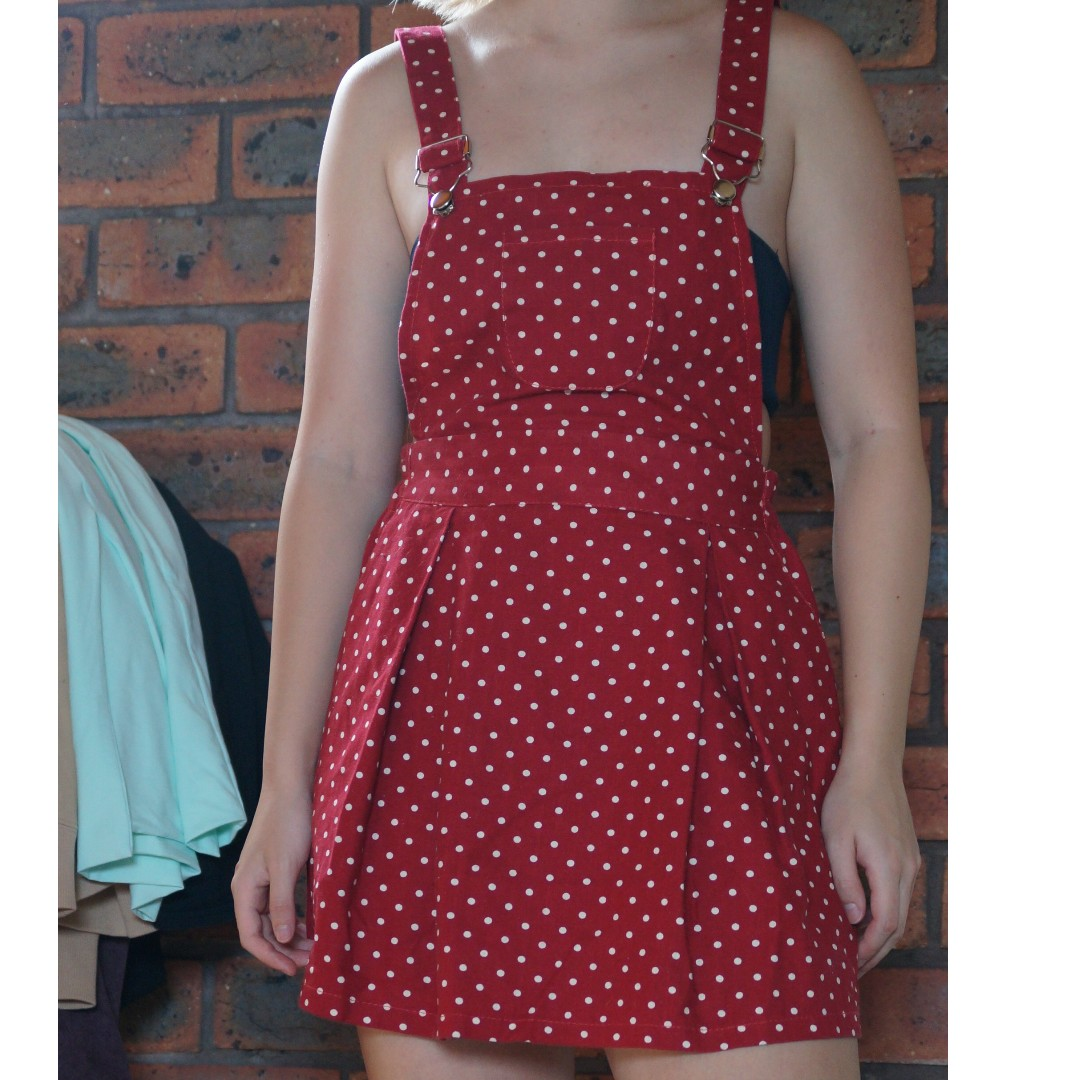 Polka Dot Pinafore Red and White