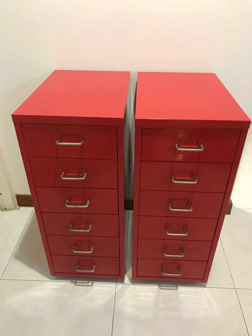Preloved Ikea Helmer Red Metal Filing Cabinets Furniture Shelves Drawers On Carou