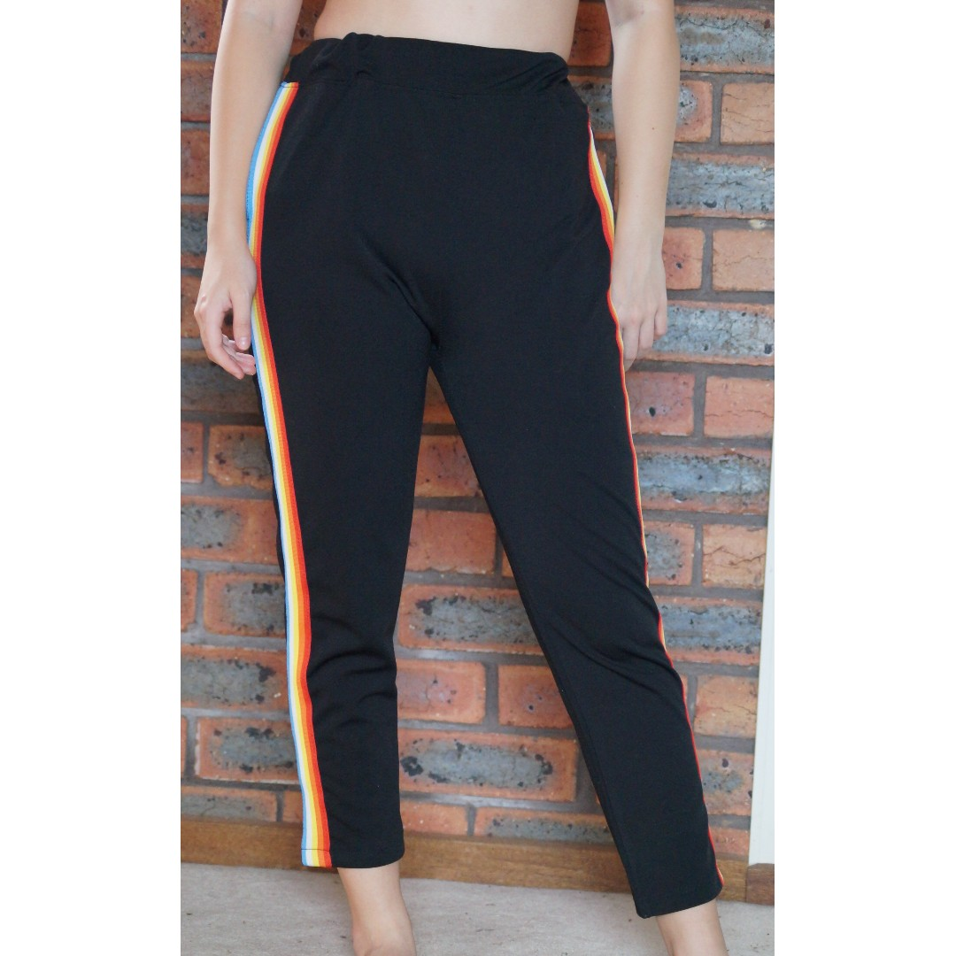 Rainbow Stripe Black Stretchy Pants