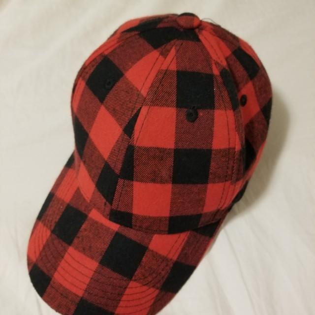 Red plaided baseball cap