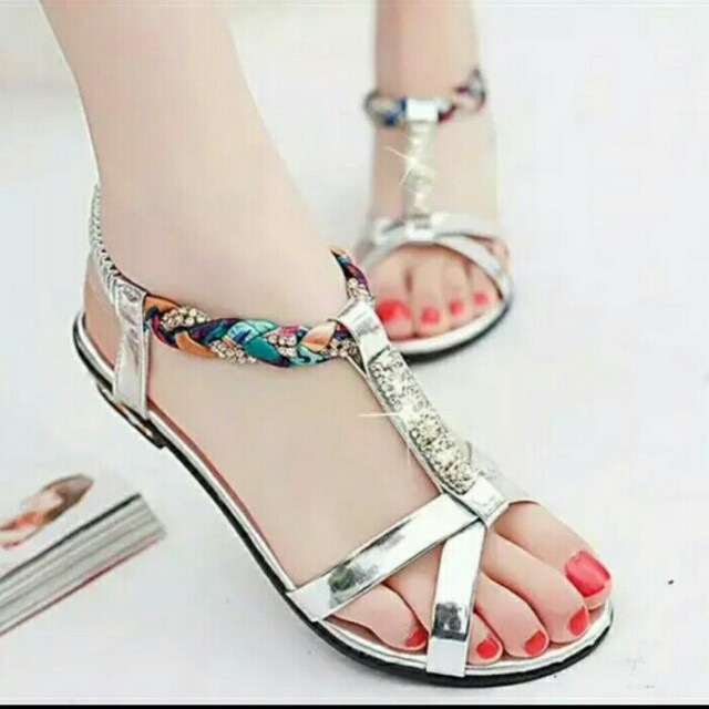 Sandal teplek silver