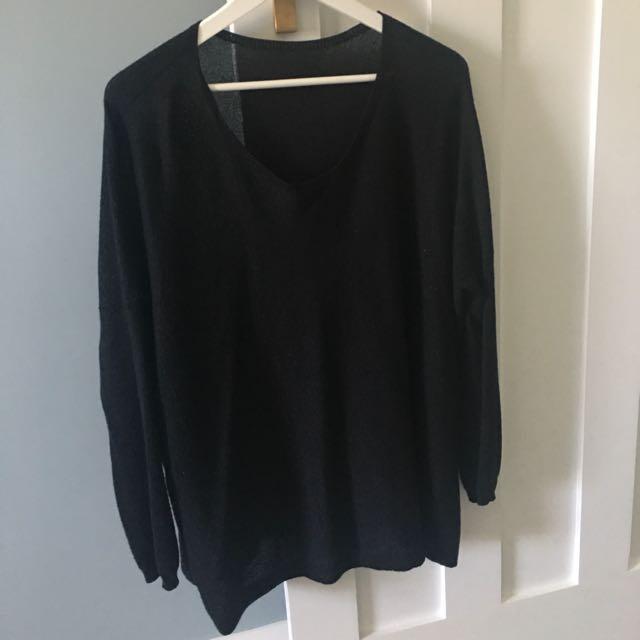 Seed black glitter knit
