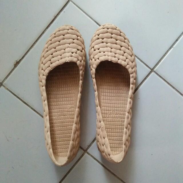 Sepatu wanita flat shoes coklat cream kacang 75d0089a5b
