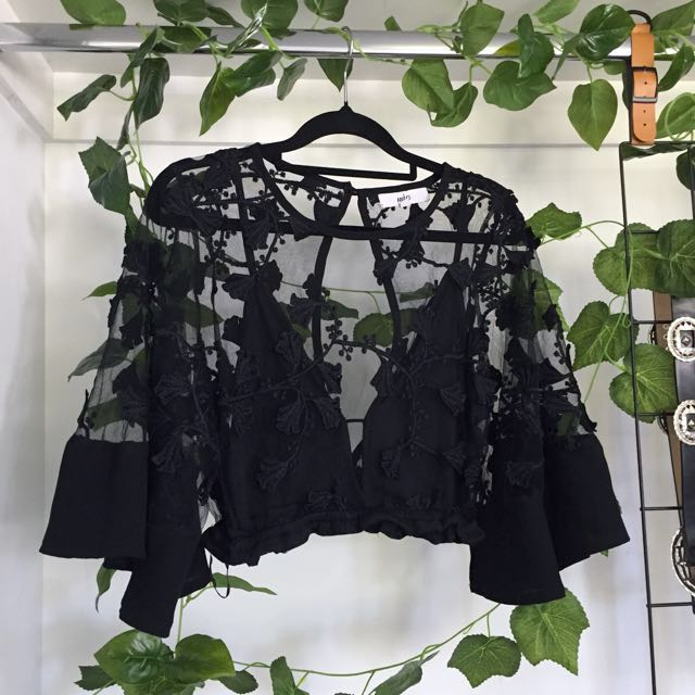 Sheer Embroidered Floral Black Mesh Crop Top Flare Sleeve