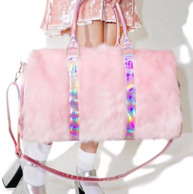 Stylish pink with hologram detailed sling travelling bag